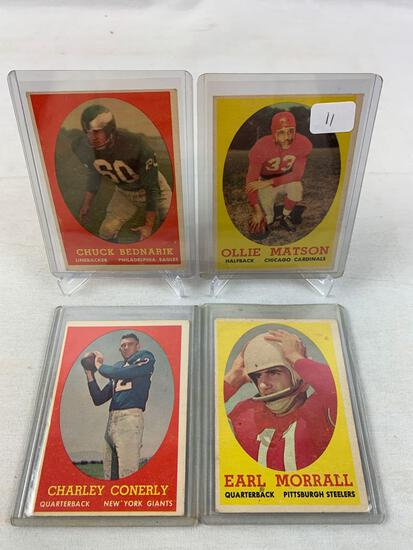 Four 1958 Topps Football cards - Matson, Bednarik, Morrall & Conerly