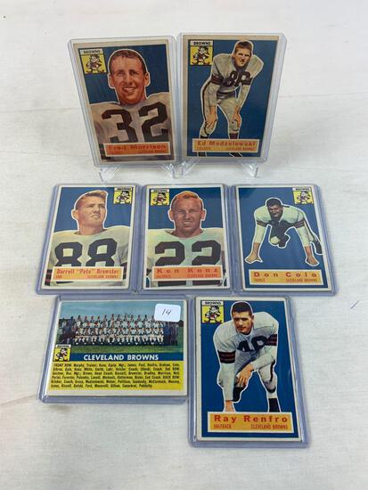 Seven 1956 Topps Cleveland Brown Football Cards - Team Card, Modzelewski, Morrison, Renfro Colo, Kon