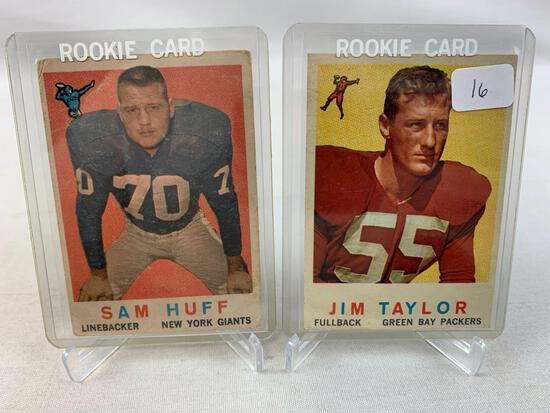 Two 1959 Topps Football Rookie Cards - Jim Taylor & Sam Huff