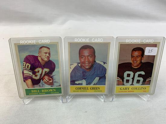 Three 1964 Philadelphia Brand Rookie Football Cards - Gary Collins, Cornell Green & Bill Brown