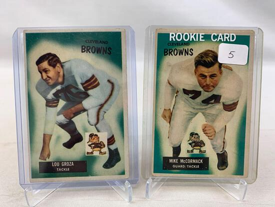 Two 1955 Bowman Football Cards - Mike McCormack Rookie & Lou Groza