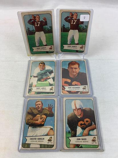 Six 1954 Bowman Cleveland Brown Player cards - Garrett (2), Bauer, Hanulak, Hilgenberg, Lavelli