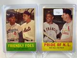 Two 1963 Topps Baseball Cards - Friendly Foes with Duke Snider & Gil Hodges card #68 & Pride of N.L.