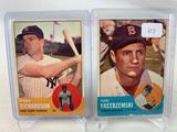 Two 1963 Topps Baseball Cards - Bobby Richardson card #420 & Carl Yastrzemski card #115 - Off Center