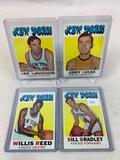 Four 1971-72 Topps Basketball Cards - Bill Bradley card #2, Willis Reed card #30, Jerry Lucas card #