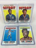 Four 1971-72 Topps Basketball Cards - Earl Monroe card #130, Connie Hawkins card #105, Dave Bing car