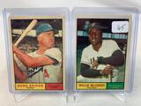 Two 1961 Topps Baseball Cards - Willie McCovey card #517 & Duke Snider card #443 - Off Center EX Con