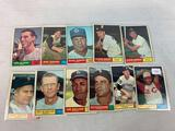 Eleven 1961 Topps Baseball Cards - Eleven different cards including Vada Pinson #110; Norm Cash #95;