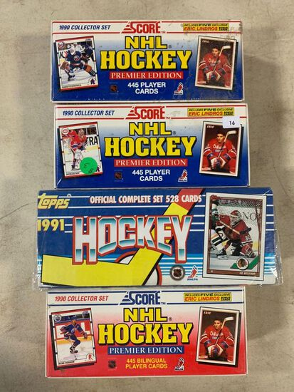 4 -1990's Hockey Factory Sets- 1990 Score, 1991 Topps