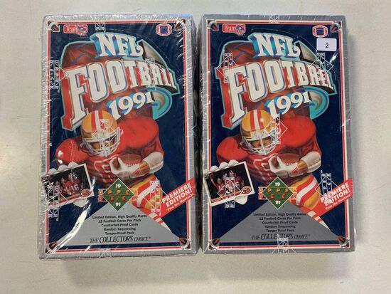 2-1991 Upper Deck Football Factory Sealed Wax Boxes