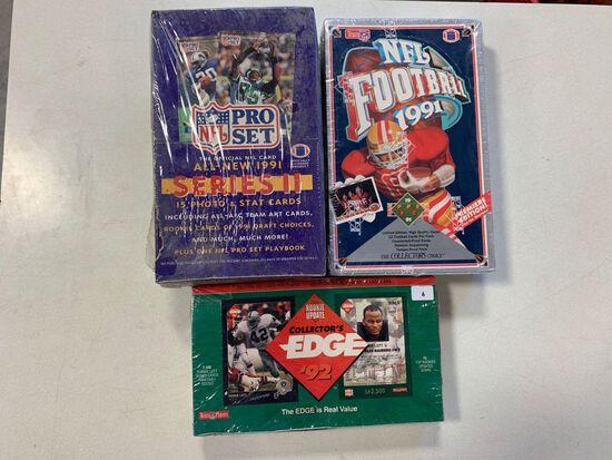 3-1990's Football Wax Boxes- Collectors Edge, 1991 Upper Deck, 1991 Pro Set