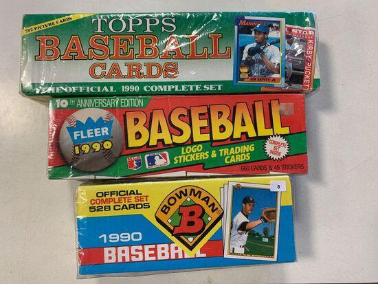 3- 1990 Baseball Sets- Topps, Fleer and Bowman