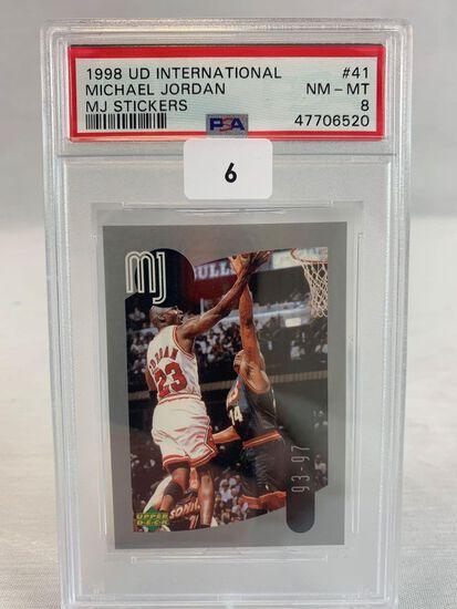 1998 Upper Deck International MJ Sticker PSA 8