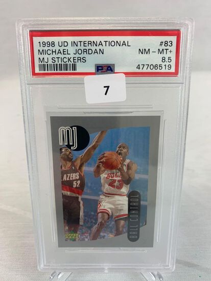 1998 Upper Deck International MJ Sticker PSA 8.5