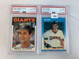 1986 Topps traded & 1987 Fleer Will Clark PSA 8's