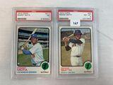1973 Topps Manny Mota- PSA 7 & Reggie Smith- PSA 8
