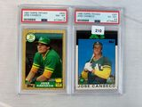 Jose Canseco- 1987 Topps Tiffany-PSA 8 & 86 Topps Traded- PSA 6.5