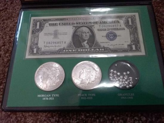 THE SILVER STORY COIN & CURRENCY SET IN HOLDER