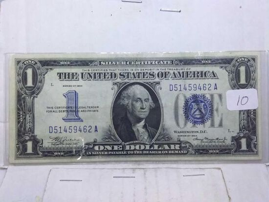 1934 $1. FUNNY BACK SILVER CERTIFICATE XF
