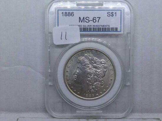 1886 MORGAN DOLLAR IN CSI MS67 HOLDER