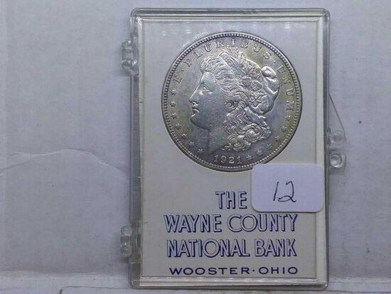 1921 MORGAN DOLLAR IN WAYNE COUNTY NATIONAL BANK HOLDER XF