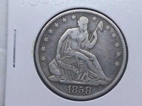 1858O SEATED HALF VF