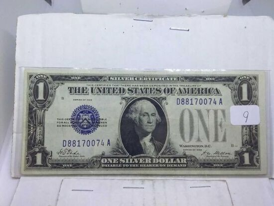 1928 $1. FUNNY BACK SILVER CERTIFICATE XF