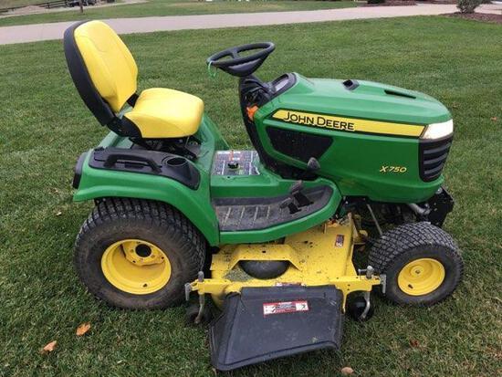 John Deere x750 Diesel lawn tractor 400 hours, 60? edge cut deck;