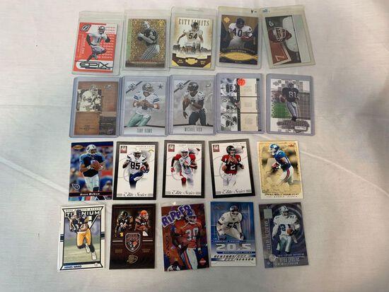 Lot of 20 Serial #'D Football star cards including Deion, LT, Rice, Romo, Vick, Ryan, Bettis, Etc.