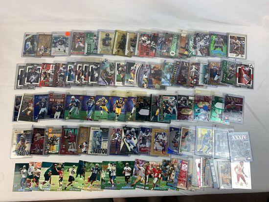 Lot of 100 Serial #'D football cards including Marino, Bettis, Davis, Bruce, Owens, Brown, Etc.
