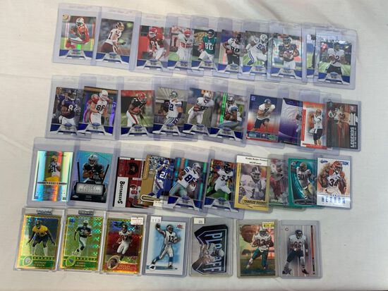 Lot of 38 Serial #'D Football cards, all cards numbered out of 100