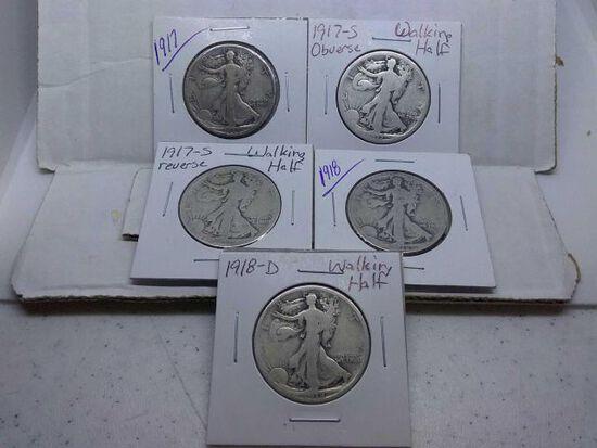 1917,17S OBV.,17S REV.,18,18D, WALKING LIBERTY HALVES (5-COINS)