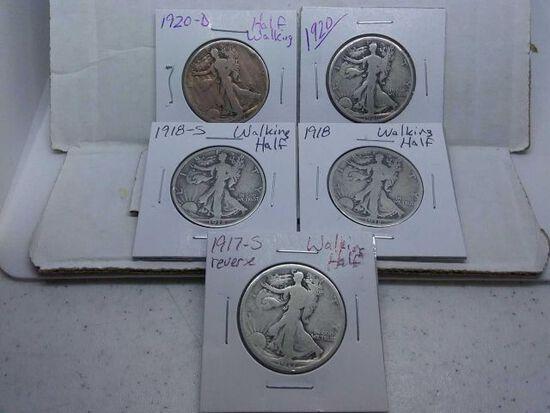 1917S REV.,18,18S,20,20D, WALKING LIBERTY HALVES (5-COINS) G-F