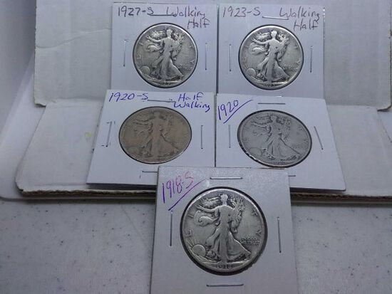 1918S,20,20S,23S,27S, WALKING LIBERTY HALVES (5-COINS) G-F