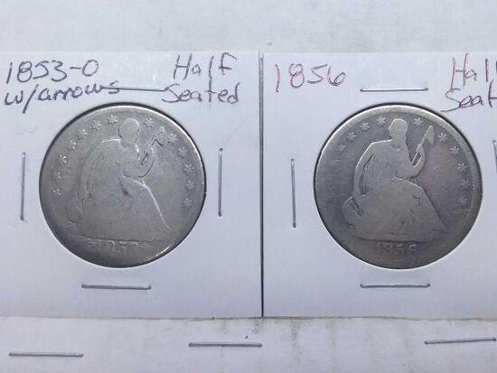 1853O,56, SEATED HALVES (2-COINS)