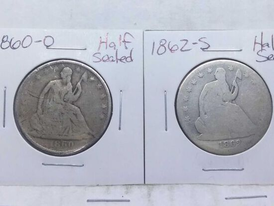 1860O,62S, SEATED HALVES (2-COINS)