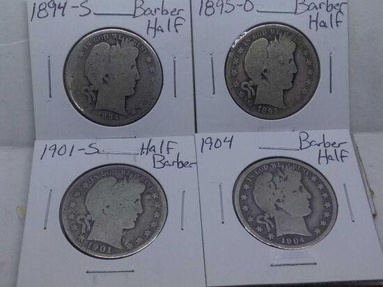 1894S,95O,1901S,04, BARBER HALVES (4-COINS) AG-VG