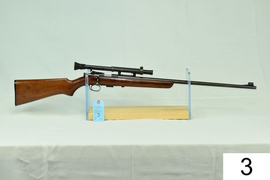 """Winchester    Mod 69    Cal .22 LR    W/Mossberg 8-A Scope    """"Gun was refinished""""    Condition: 60%"""