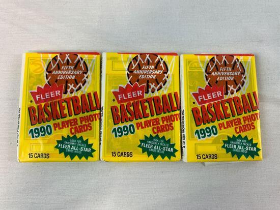 (3) 1990-91 Fleer Basketball Wax Packs - Hot!