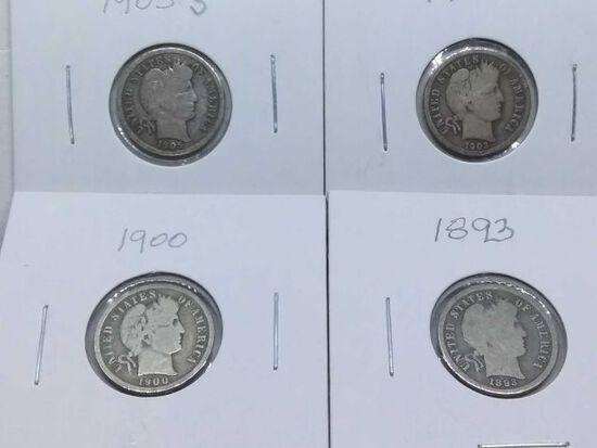 1893,1900,03,05S, BARBER DIMES (4-COINS) G-VG