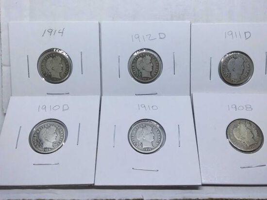 1908,10,10D,11D,12D,14, BARBER DIMES (6-COINS)
