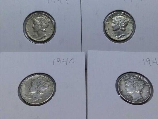 1940,41,42,44, MERCURY DIMES (4-COINS) AU-UNC