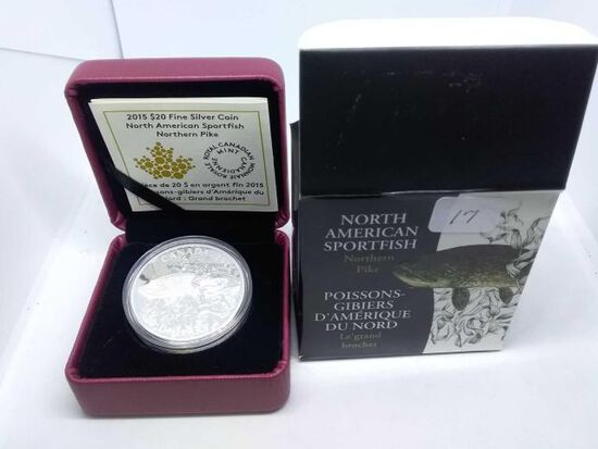 2015 CANADIAN $20. .9999 SILVER NORTHERN PIKE IN HOLDER PF