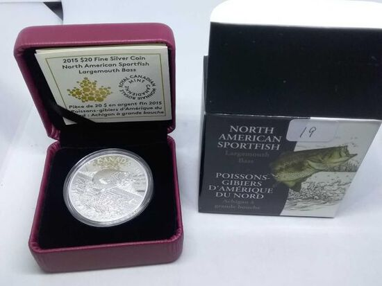 2015 CANADIAN $20. .9999 SILVER LARGEMOUTH BASS IN HOLDER PF