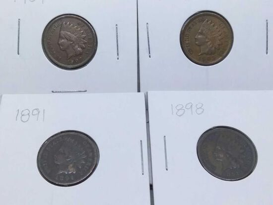 1891,98,1905,07, INDIAN HEAD CENTS (4-COINS) XF