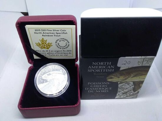 2015 CANADIAN $20. .9999 SILVER RAINBOW TROUT IN HOLDER PF