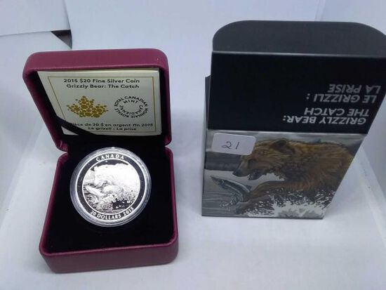 2015 CANADIAN $20. .9999 SILVER GRIZZLY BEAR THE CATCH IN HOLDER PF