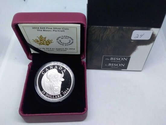 2014 CANADIAN $20. .9999 SILVER BISON PORTRAIT IN HOLDER PF