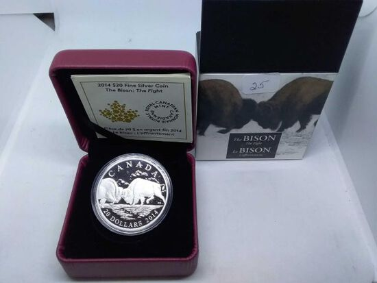 2014 CANADIAN $20. .9999 SILVER BISON THE FIGHT IN HOLDER PF