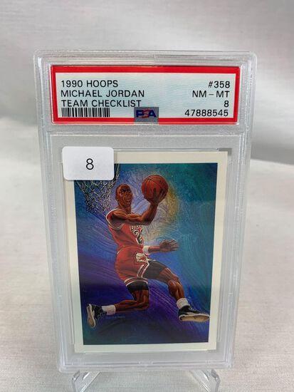 1990 Hoops Michael Jordan Team Checklist PSA 8